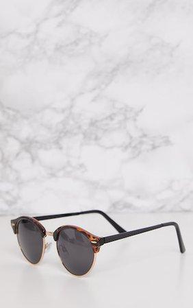 Tortoise Classic Round Retro Sunglasses | PrettyLittleThing USA