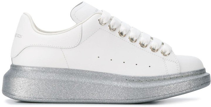Oversized glitter low-top sneakers