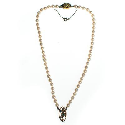 Vintage Faux Pearl Necklace with Sterling Silver Floral Pendant with G - Vintage Meet Modern