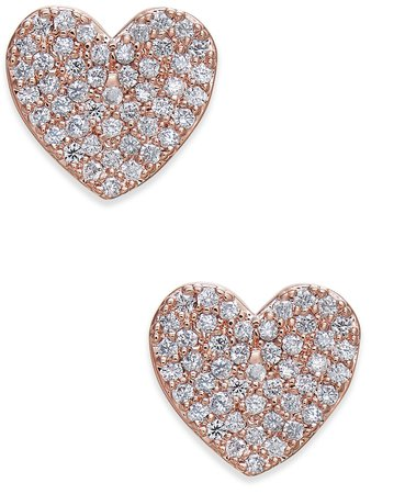 kate spade new york Rose Gold-Tone Pavé Heart Stud Earrings & Reviews - Earrings - Jewelry & Watches - Macy's