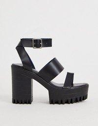 ASOS DESIGN Noticeable chunky platform heeled sandals in black | ASOS