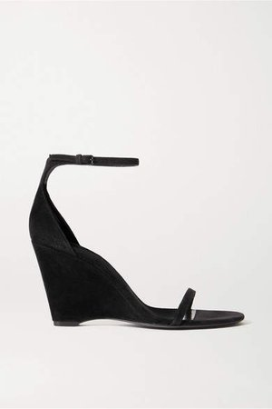 Bianca Suede Wedge Sandals - Black