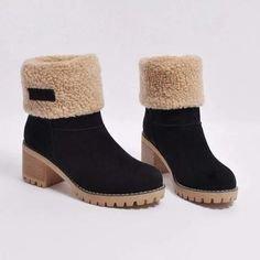 Women Warm Square Heels Snow Boots
