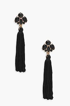 Bethany Floral Gem Tassel Earrings