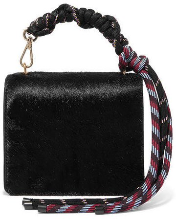 Rope And Leather-trimmed Pony Hair Shoulder Bag - Black