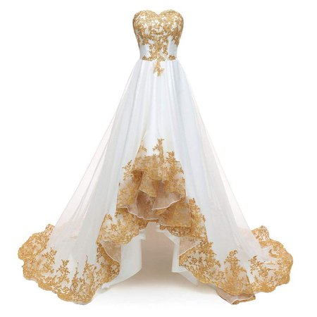 Mother of the bride groom Dresses, Bridesmaid ModeC Evening Dresses Gold Lace Applique Hi-Lo Prom Ball Gown Party Dress