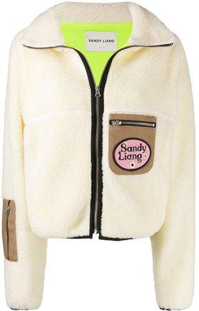 Contrast Pockets Shearling Jacket
