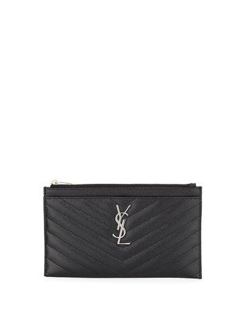 Saint Laurent YSL Monogram Chevron Quilted Pouch Bag/Wallet | Neiman Marcus