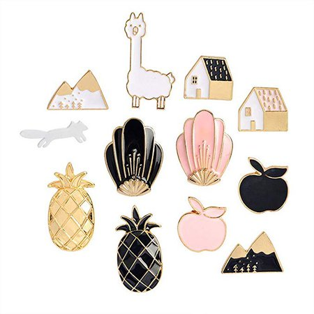 Amazon.com: Souarts Women Girls 14pcs Carton Enamel Brooch Pin Badges for Clothes Bags Backpacks Lapel Pin Set (Set 5): Sports & Outdoors