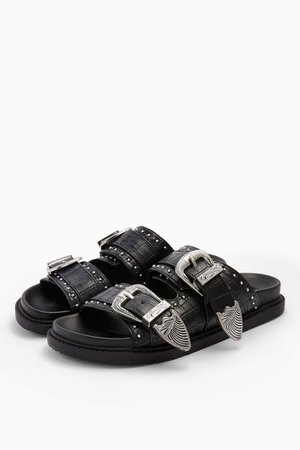 PERU Black Buckle Footbed Sandals | Topshop