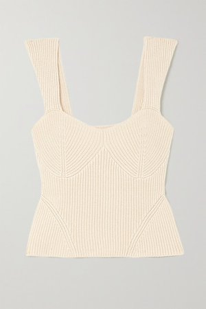 Kira Ribbed-knit Tank - Beige