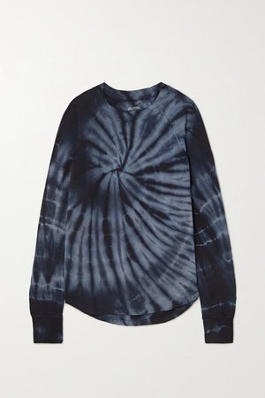 Warm Up Tie-dyed Stretch-modal Sweatshirt - Navy
