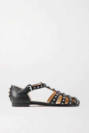 Loubiclou Studded Leather Sandals - Black