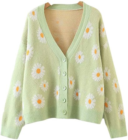 Women's Y2K Floral Smile Face V Neck Long Sleeve Cardigan Sweater Open Front Button 90s Outerwear (One Size, Light Green Daisy) at Amazon Women's Clothing store