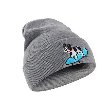 Unisex Dog Skateboard Beanie Cap Chunky Hedging Cap Cartoon Winter