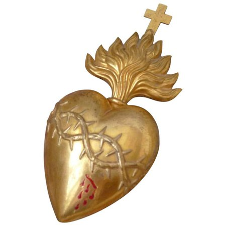 Rare 19th C. French gilt brass bleeding flaming sacred heart : crown : French faded-grandeur   Ruby Lane