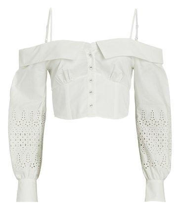 Self-Portrait Broderie Anglaise Off-the-Shoulder Top | INTERMIX®