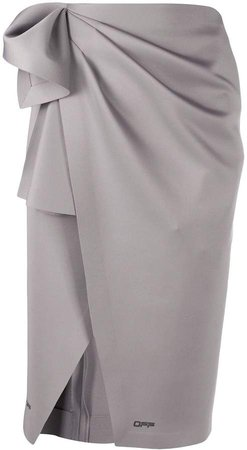 Off White pleat detail wrap pencil skirt