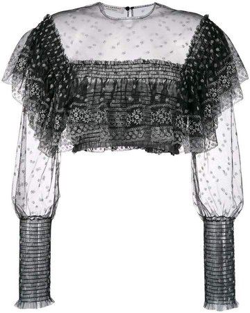 lace detail cropped blouse