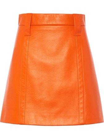 Prada leather fitted mini skirt - FARFETCH
