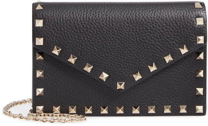 Rockstud Calfskin Leather Envelope Pouch