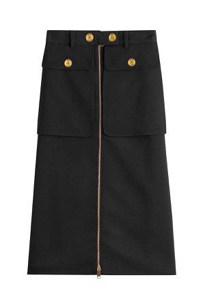Zipped Virgin Wool Skirt with Silk Gr. IT 44