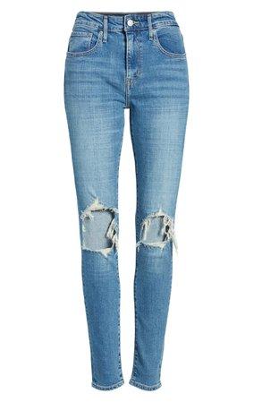 Levi's® 721 Ripped High Waist Skinny Jeans (Rugged Indigo)