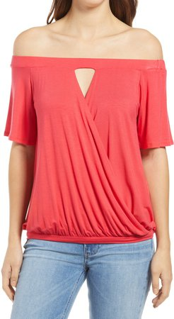 Loveapella Off the Shoulder Faux Wrap Top