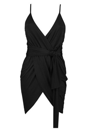 Wrap Belted Bodycon Dress   boohoo