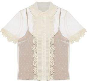 Crochet-trimmed Pintucked Point D'esprit Blouse