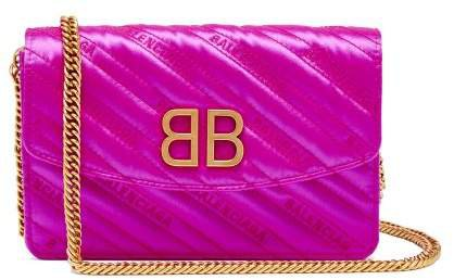 Bb Logo Embroidered Satin Clutch Bag - Womens - Pink