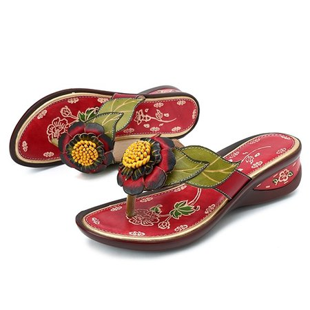 Wish | SOCOFY Women Handmade Shoes Flower Slippers Carving Retro Sandals Beach Summer