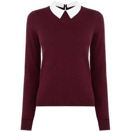 Burgundy red sweater shirt collared
