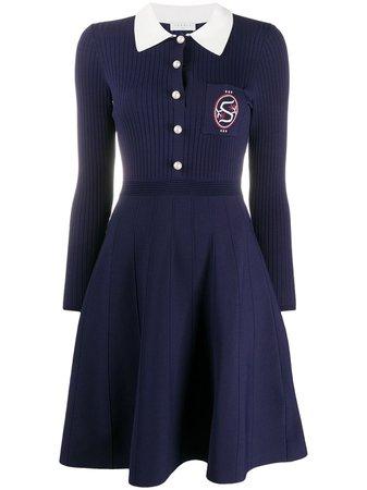 Blue Sandro Paris logo embroidered skater mini dress - Farfetch