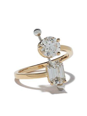 Delfina Delettrez Diamond Foundry X Dover Street Market 18Kt Yellow And White Gold Diamond Piercing Ring Continuity | Farfetch.com