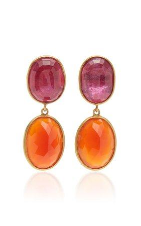 Bahina One of a Kind Ruby and Carnelian Earrings