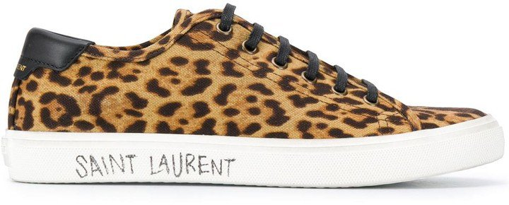 Leopard-Print Lace-Up Sneakers