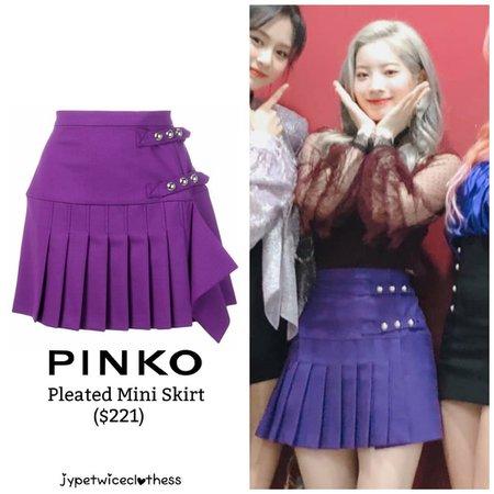 "Twice's Fashion on Instagram: ""DAHYUN MBC MUSIC CORE PINKO- Pleated Mini Skirt ($221) #twicefashion #twicestyle #twice #nayeon #jeongyeon #jihyo #momo #mina #sana #dahyun…"""