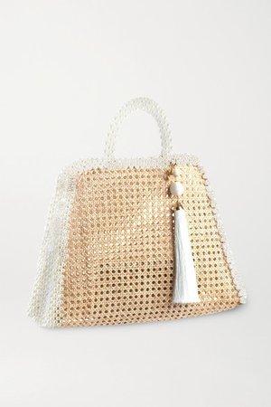 Lido Faux Pearl-embellished Wicker Tote - Neutral