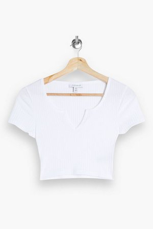 White Ribbed Notch T-Shirt | Topshop
