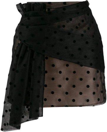 polka-dot mesh mini skirt