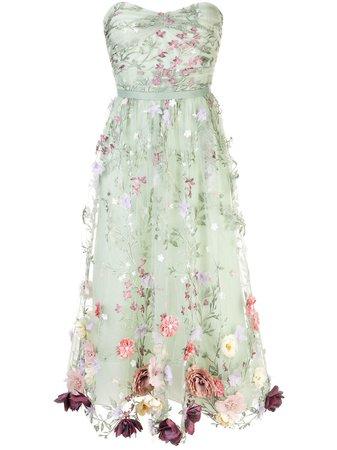 Marchesa Notte Floral Appliqué Midi Dress Ss20 | Farfetch.com