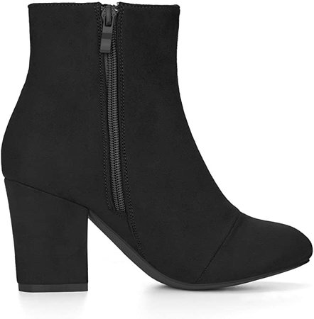 Amazon.com | Allegra K Women's Round Toe Side Zip Block Heel Ankle Boots (Size US 6) Black | Ankle & Bootie