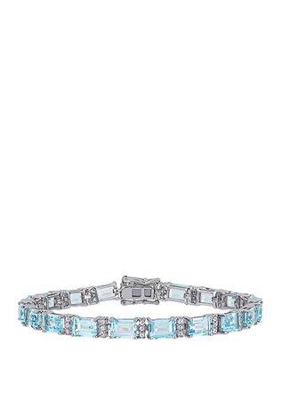 Belk & Co. 22.8 ct. t.w. Blue Topaz and 4/5 ct. t.w. White Sapphire Tennis Bracelet in Sterling Silver
