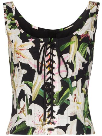 Dolce & Gabbana floral lace-up bustier top $1,245 - Shop AW19 Online - Fast Delivery, Price