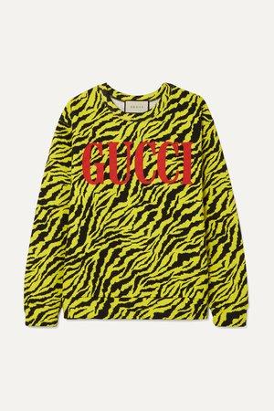 Yellow Neon tiger-print cotton-jersey sweatshirt | Gucci | NET-A-PORTER