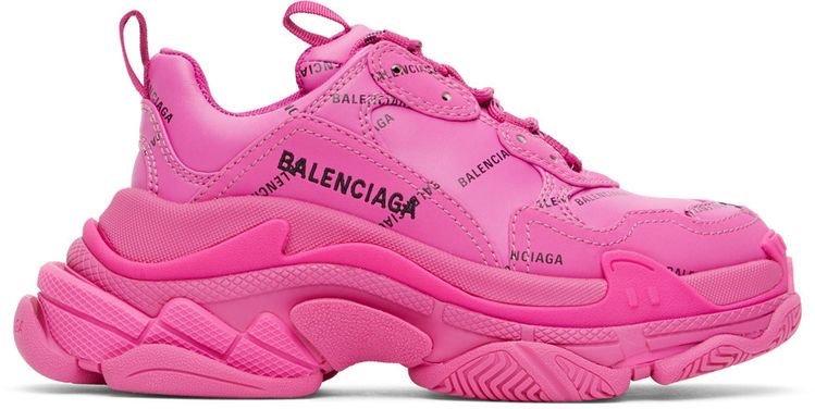Balenciaga Pink Allover Logo Triple S Sneakers