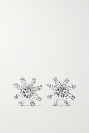 Suzanne Kalan | 18-karat white gold diamond earrings | NET-A-PORTER.COM
