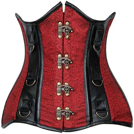 Curvy Cut Red and Black steel boned corset // goodgoth