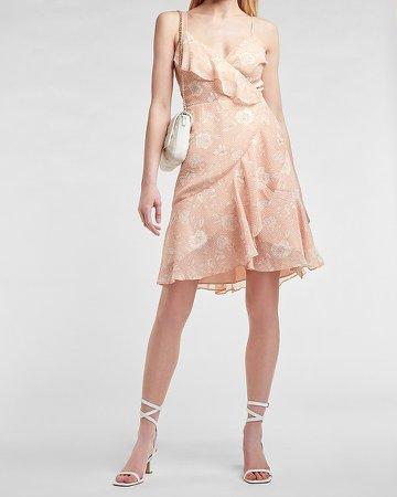 Floral Ruffle Wrap Mini Dress